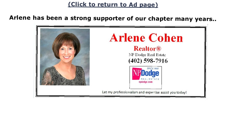 (Click to return to Ad page)  Arlene has been a strong supporter of our chapter many years..